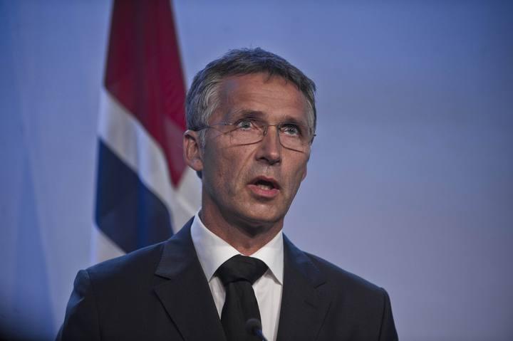 Jens Stoltenberg durante una rueda de prensa cuando era primer ministro noruego
