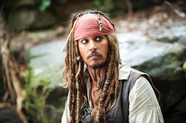 Johnny Depp caracterizado con el capitán Jack Sparrow de 'Piratas del Caribe'.