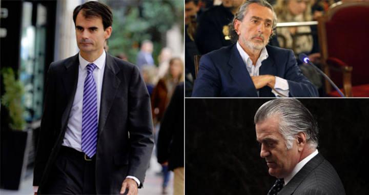 El juez instructor del caso Gürtel, Pablo Ruz; el presunto cabecilla de la trama, Francisco Correa; y el extesorero del PP Luis Bárcenas.