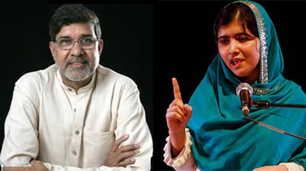Kalas Satyarthi y Malala Satyarthi, ganadores del premio Nobel de la Paz 2014.