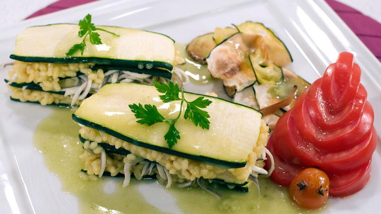 Sabor Cocinar - Lasaña de arroz y gulas en salsa verde