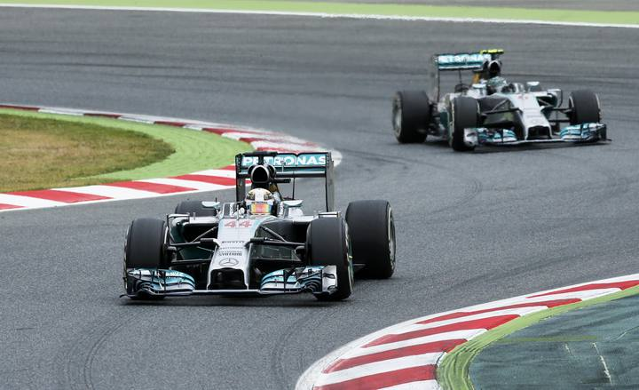 Lewis Hamilton y Nico Rosberg, en Montmeló