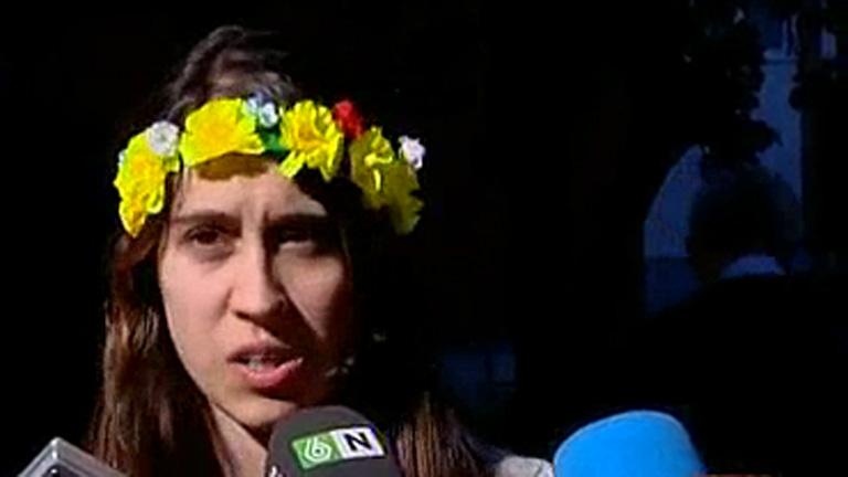 La líder del movimiento Femen en España expresa su desacuerdo con la reforma de la ley del aborto