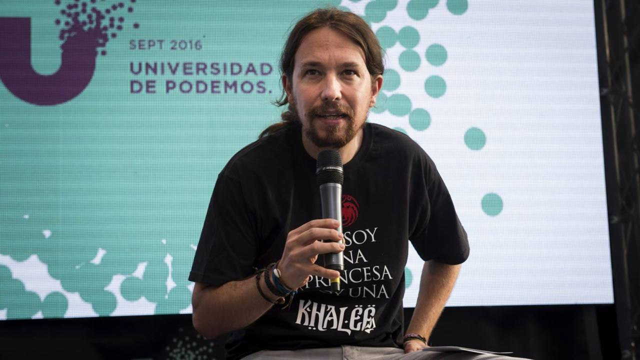 El líder de Podemos, Pablo Iglesias, durante la clausura de la Universidad del partido en la Universidad Complutense de Madrid.