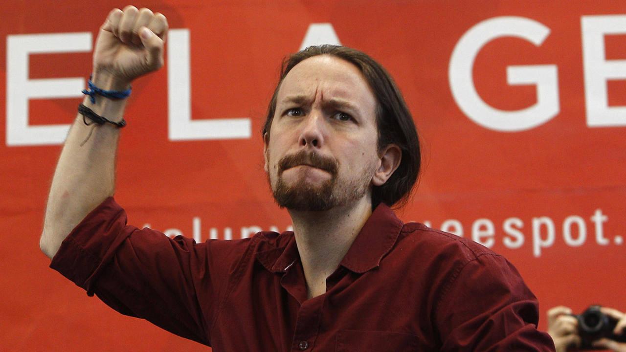 El líder de Podemos, Pablo Iglesias, en un mitin de Catalunya Sí que es Pot en Sabadell (Barcelona).