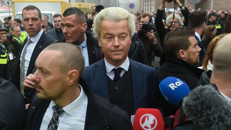 El líder ultraderechista holandés Geert Wilders durante su inicio de campaña electoral.