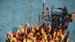 La llama olímpica no se ve fuera del estadio