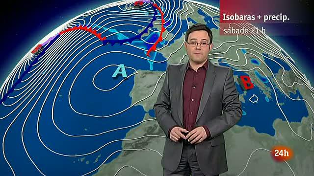 Lluvias en el área Cantábrica y nevadas en la mitad norte del país y Baleares