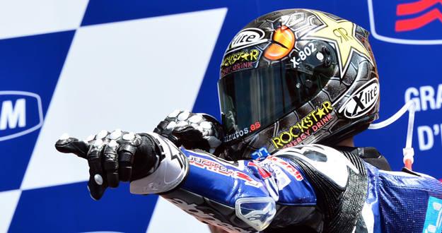Jorge Lorenzo celebra en el podio su victoria en el circuito de Mugello.
