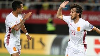 Macedonia 0-1 España. Silva adelanta a la Roja