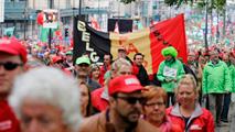 Manifestación en Bruselas contra la política laboral del Gobierno de Bélgica