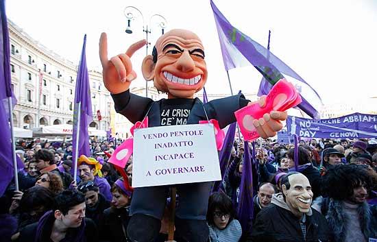 Manifestación contra Berlusconi en Italia