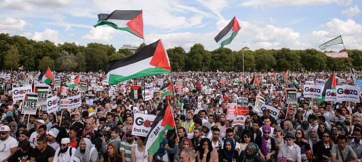 Manifestación en Londres contra la ofensiva israelí en Gaza