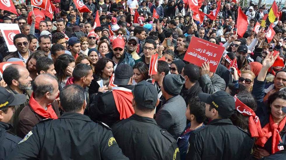 Manifestación multitudinaria en Túnez en contra del terrorismo
