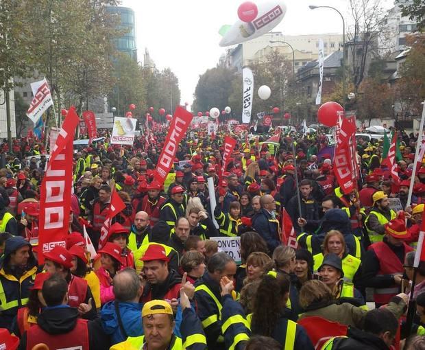 Manifestación de los trabajadores de Correos en Madrid en noviembre de 2014