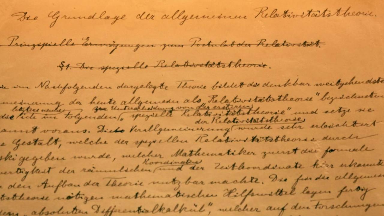 Manuscrito original de la teoría de la relatividad general, donado por Albert Einstein al Estado de Israel.