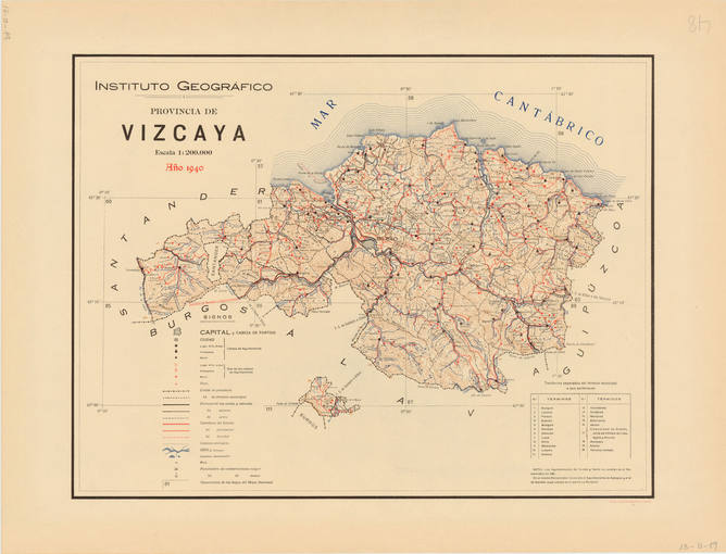 Mapa de Bilbao, en la provincia de Vizcaya, de 1940.