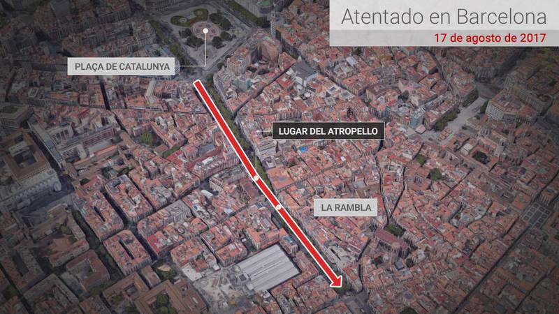 Mapa del atentado en Barcelona.