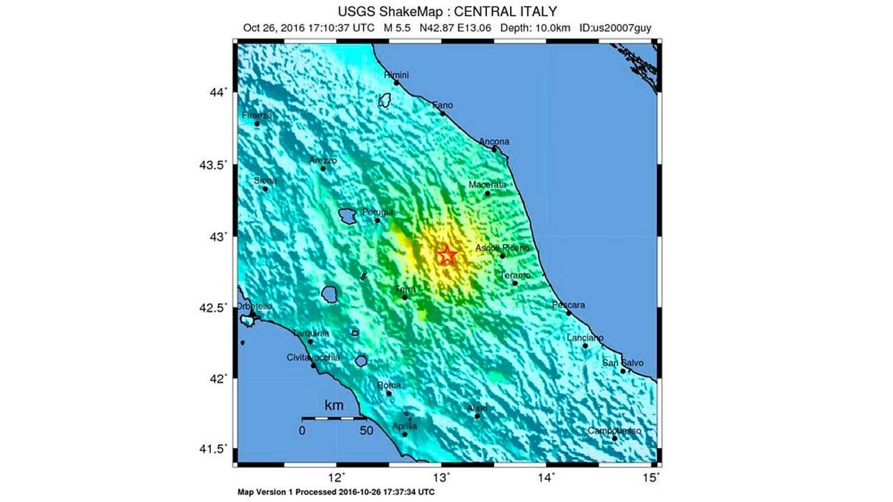 Mapa del Servicio Geológico de Estados Unidos que muestra la ubicación del epicentro del terremoto