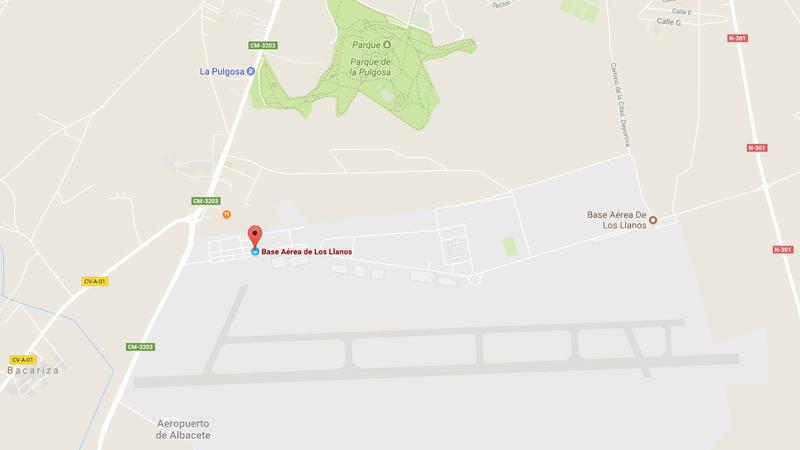 Mapa con la localización de la base aérea de Los Llanos y el parque de La Pulgosa, en Albacete (Google Maps)