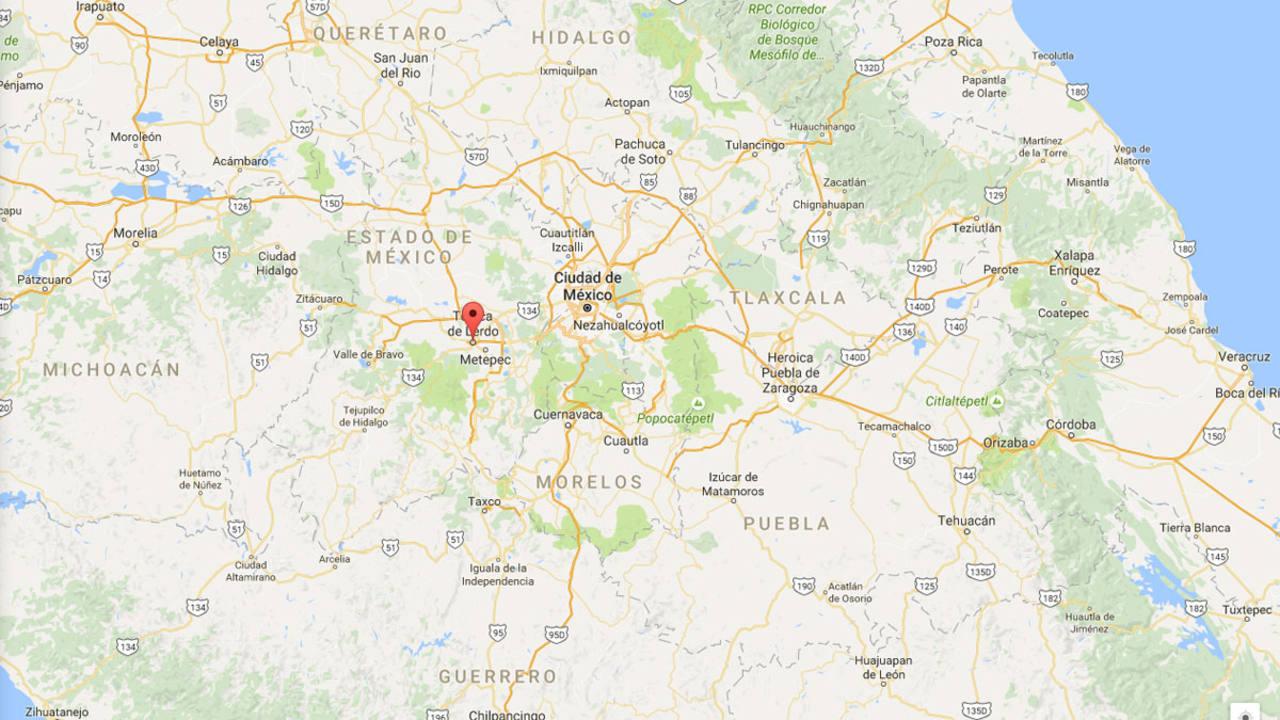 Mapa con la localidad mexicana de Toluca donde ha sido hallado el cuerpo de una española secuestrada marcada en rojo