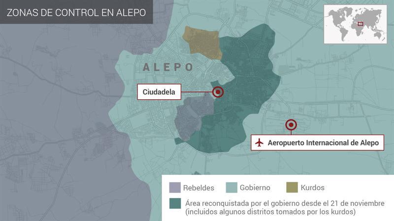 Mapa de la situación en Alepo a 12 de diciembre de 2016, según el IHS Conflict Monitor.