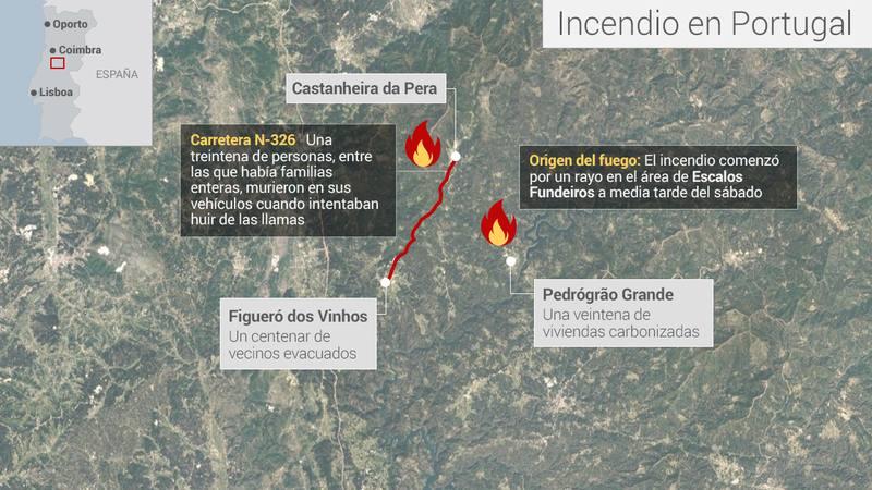 Mapa de situación del incendio en el centro de Portugal