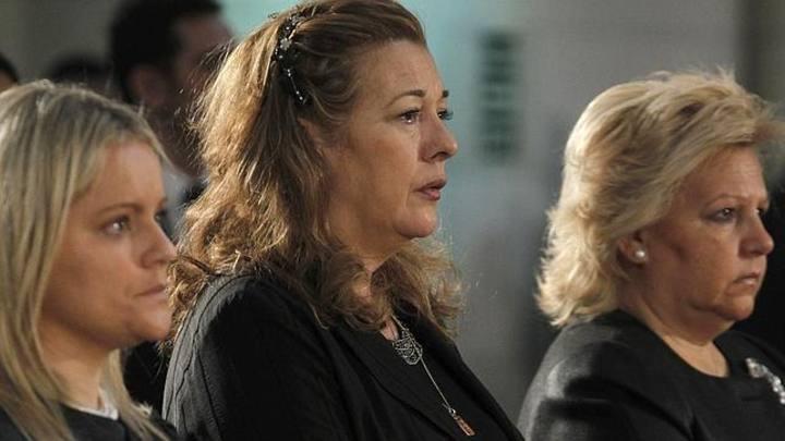 María del Mar Blanco, Pilar Manjón y Ángeles Pedraza, representantes de las asociaciones de víctimas del 11M, en el décimo aniversario de los atentados