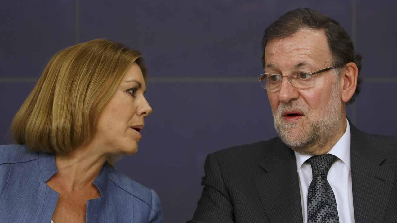 María Dolores de Cospedal junto al presidente del PP, Mariano Rajoy.