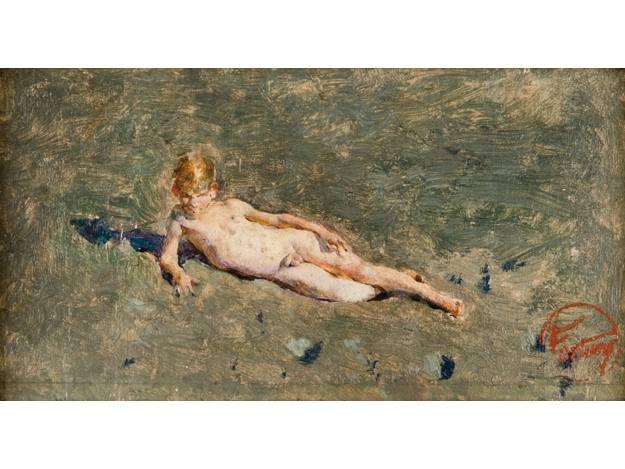 """Mariano Fortuny, """"Niño desnudo en la playa de Portici"""", (1874)"""