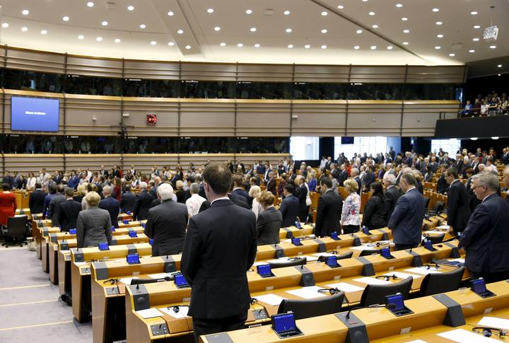 MEP observe a minute of silence as they commemorate the 100th anniversary of Armenian mass killings, at the EU Parliament in Brussels