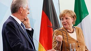 Merkel sigue inflexible sobre el papel del BCE tras reunirse con Monti
