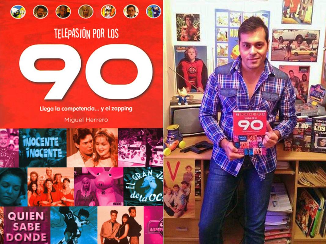 Miguel Herrero y la portada de su libro 'Telepasión por los 90'