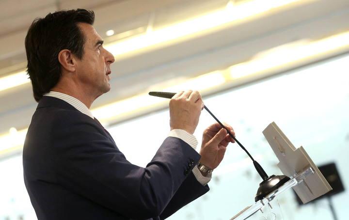 El ministro de Industria, Energía y Turismo, José Manuel Soria, durante su intervención en un desayuno informativo