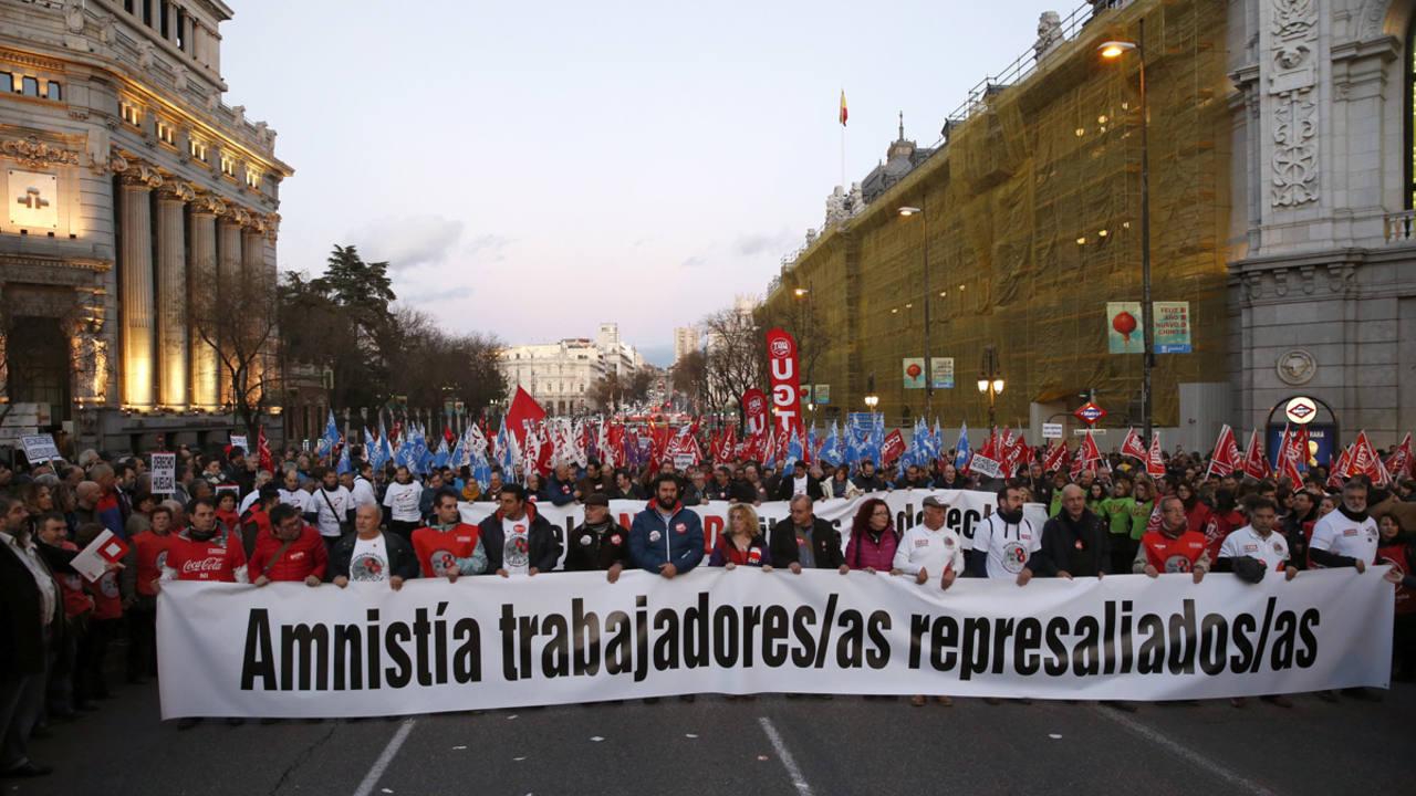 """Un momento de la manifestación convocada en solidaridad con """"los 8 de Airbus"""""""