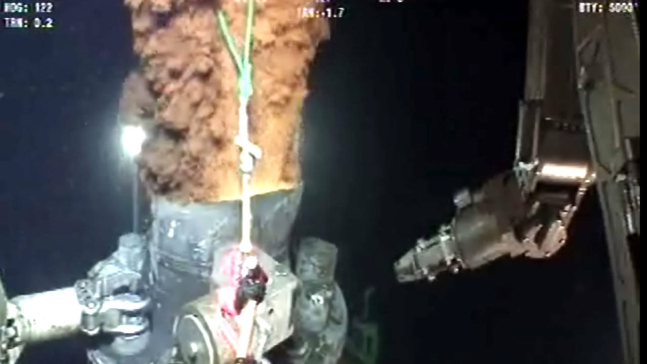 Muestra del escape del petróleo vertido por la plataforma Deepwater Horizon