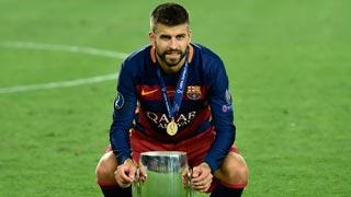 Nueva celebración polémica de Piqué en la Supercopa de Europa