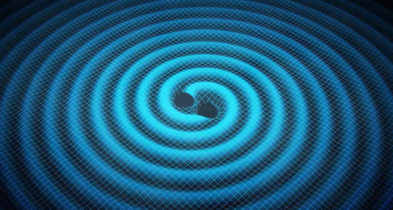 Las ondas gravitacionales son ondulaciones concéntricas que encojen y estiran la 'tela' del espacio-tiempo.