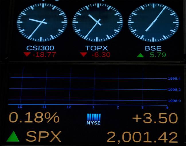 Una pantalla en la Bolsa de Nueva York muestra el índice S&P 500 superando los 2.000 al inicio de la sesión