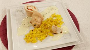 Saber cocinar - Pechuga de pavo rellena en salsa de vichissoise
