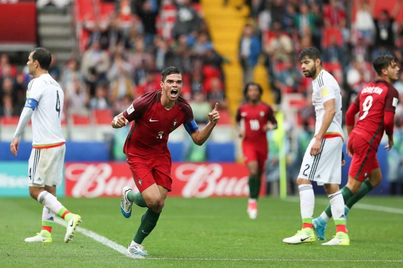 Pepe celebra su gol, que ha supuesto el empate y forzar la prórroga ante México.