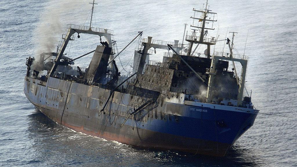 Un pesquero ruso se hunde al sur de Gran Canaria con más de 1.400 toneladas de fuel a bordo