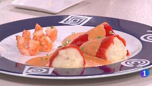 Cocina con Sergio - Pimientos rellenos de bacalao con langostinos