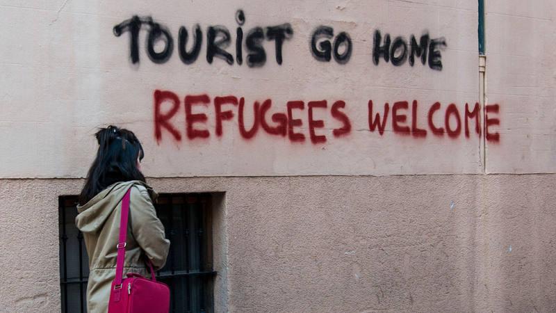 Pintadas en contra de los turistas en el casco antiguo de Palma en una image de archivo de 2016