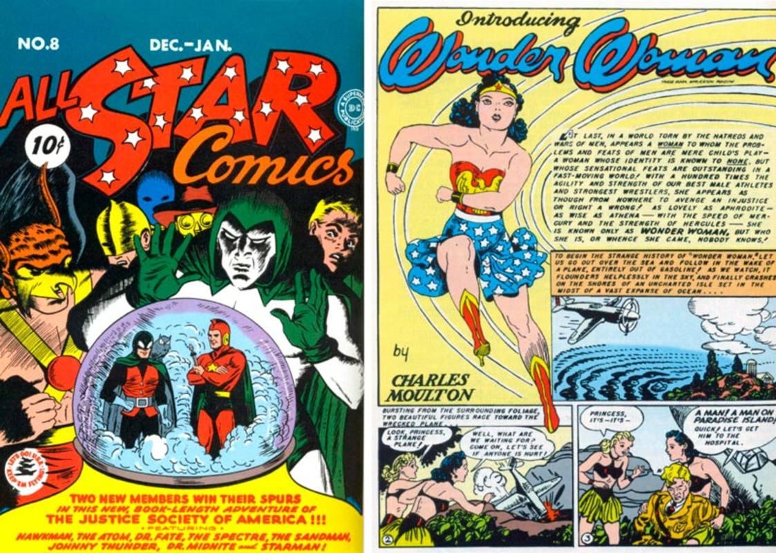 Portada de 'All Star Comics #8' (1941) y primera página de la aventura de Wonder Woman