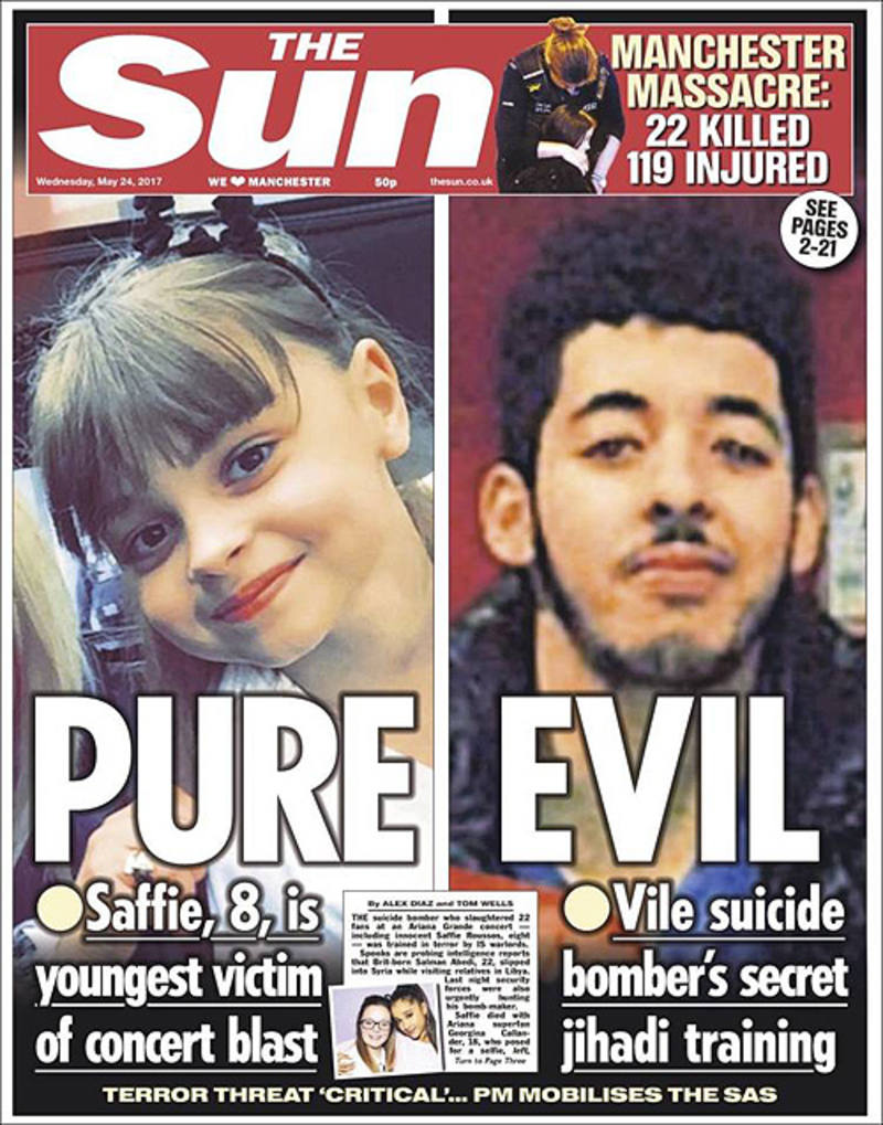 Portada del diario británico 'The Sun': A la izquierda, Saffie Rose, la víctima más joven hasta ahora del atentado de Mánchester; a la derecha, Salman Abedi, el presunto terrorista.