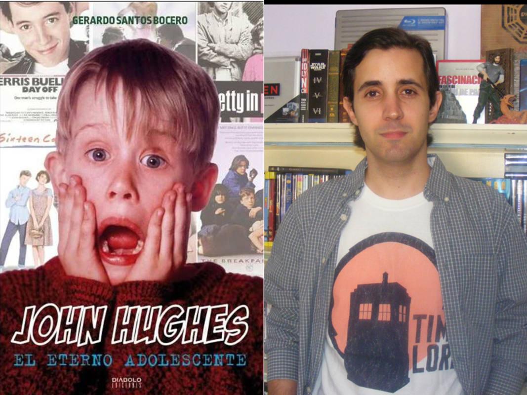 Portada de 'John Hughes: el eterno adolescente' y su autor, Gerardo Santos Vocero