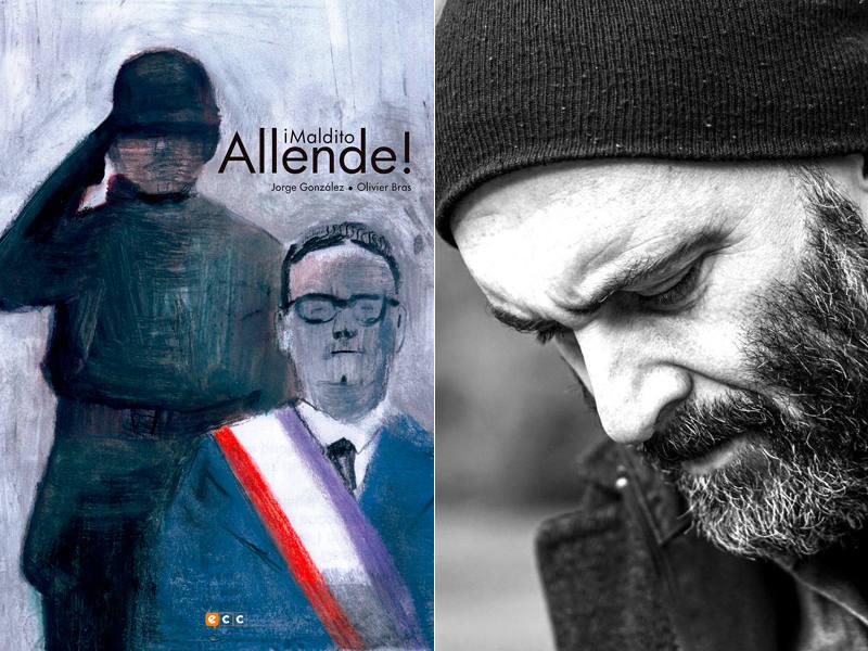 Portada de ¡Maldito Allende! y el dibujante Jorge González