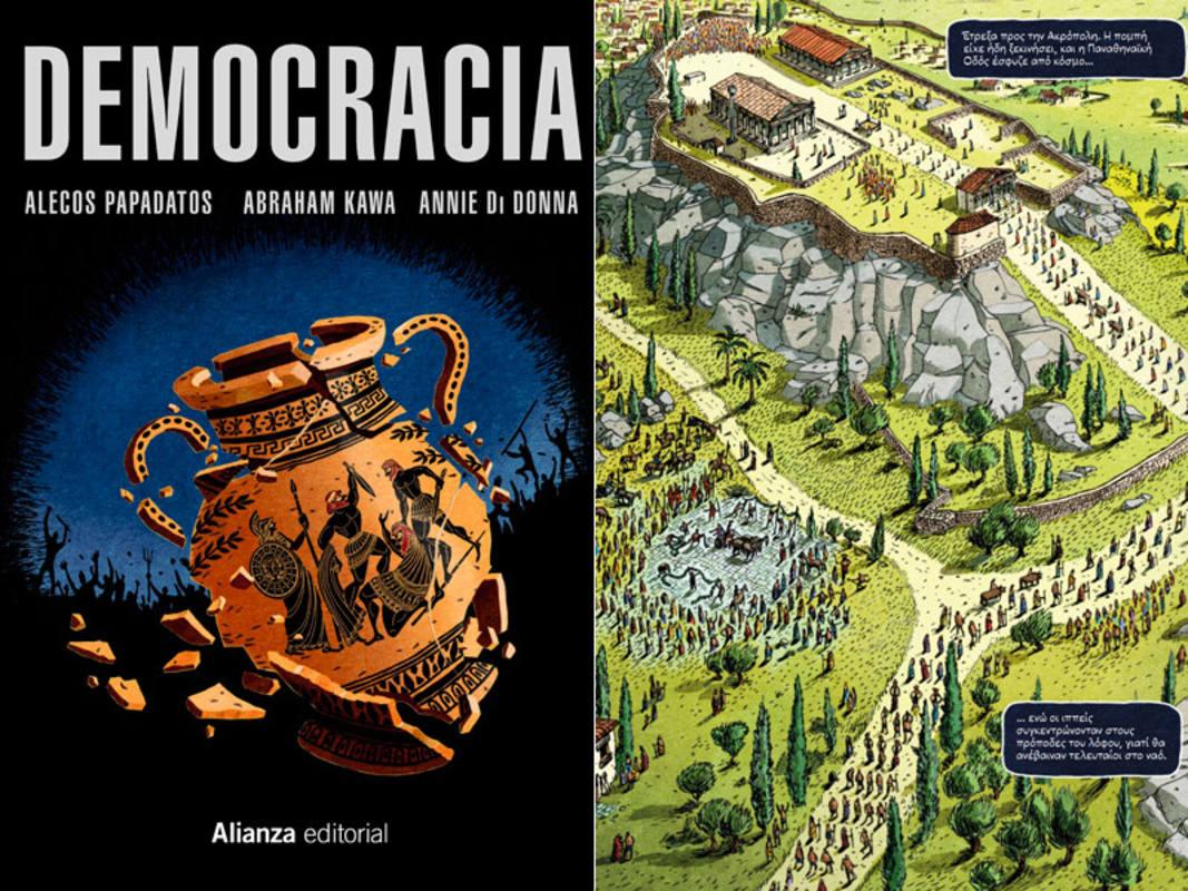 Portada y página de 'Democracia'