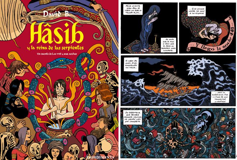 Portada y página de 'Hâsib y la reina de las serpientes'
